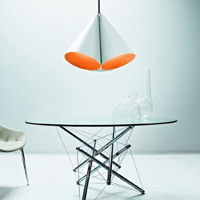 Nemo Campanula Pendant - Ceramic white hanging pendant with orange interior, application