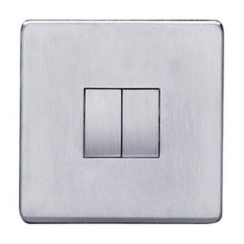 Heritage Brass Screwless range - Studio Range screwless 10 Amp Rocker Double Switch, 2 gang 2 way