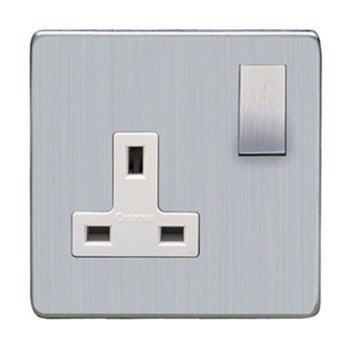 Heritage Brass Screwless range - Studio Range screwless 13 Amp Single Switched Socket