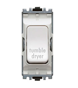 The K4896TDWHI - a MK Grid 20A DP Switch marked Tumble Dryer, double pole white tumble dryer switch
