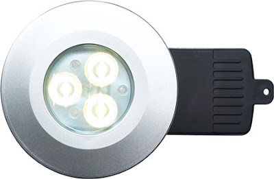 The DLSILFNW - Fire rated shower LED downlight, Neutral White energy saving EvoLED light, in a silver finish
