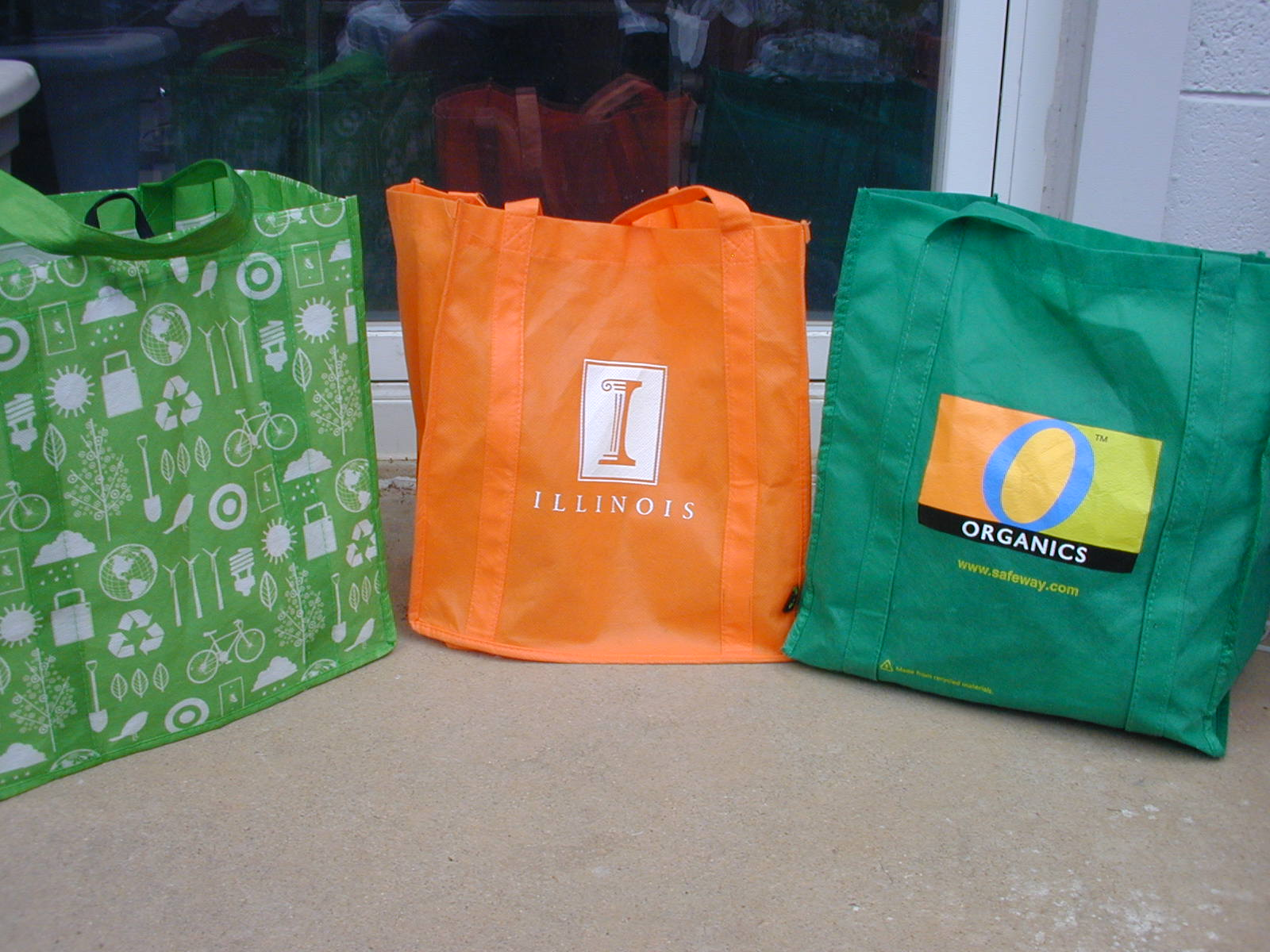 1) Reusable Shopping Bags. Pictured are some examples of the reusable shopping bags commonly found in the USA. Many are given away for free as promotions.