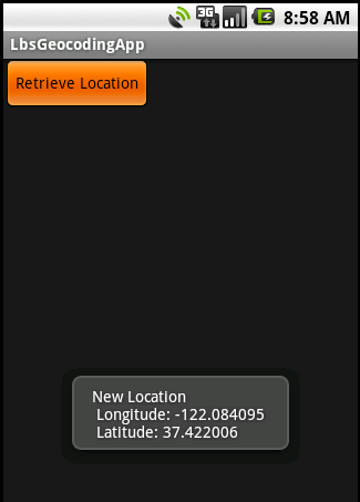 location based service on android Android location api location a class representing a geographic location sensed at a particular time locationmanager this class provides access to the system location services locationlistener interface used for receiving notifications from the locationmanager when the location has changed.