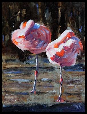 flamingo impressionistic oil painting