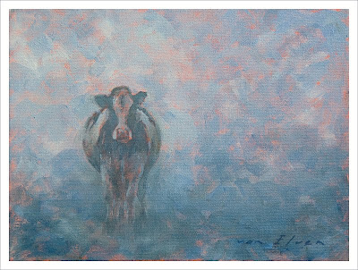 cow mist oil painting