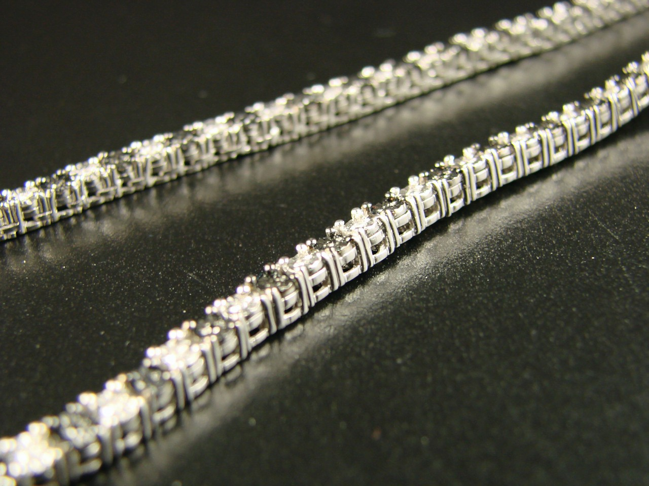Brand New Solid Sterling Silver, wrapped in 10k White gold Diamond Chain.(53.9 grams).