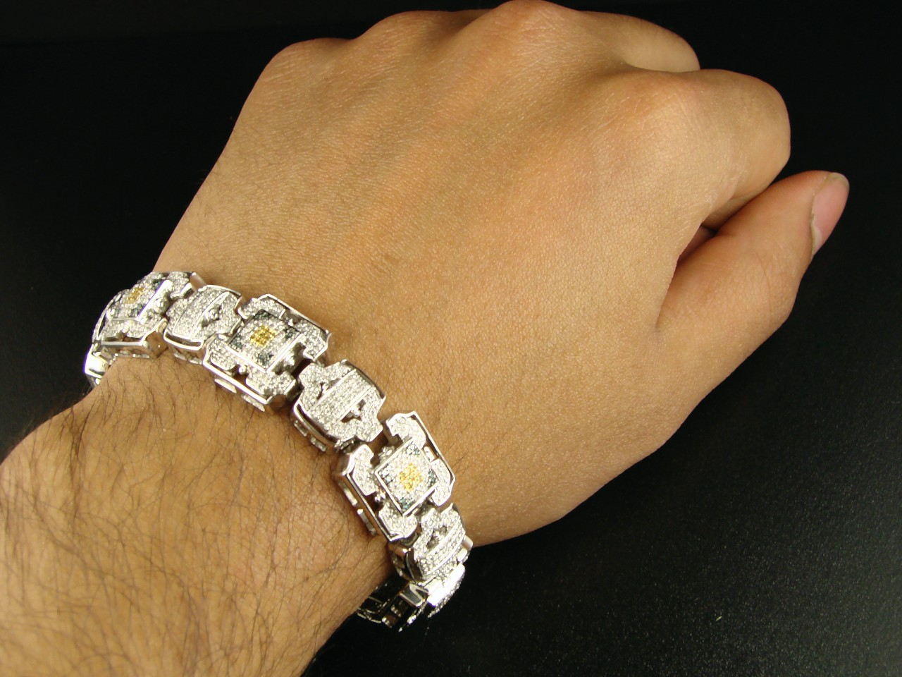 new york jewels 10k mens white gold multi pave diamond. Black Bedroom Furniture Sets. Home Design Ideas