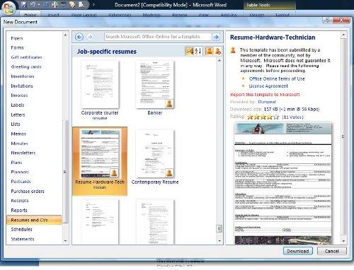 ten great free resume templates  microsoft word download links    digital world  april
