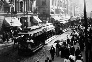 Boston streetcar traffic, Tremont Street, 1895