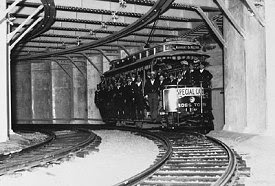 Boston streetcar entering Park Station 1897