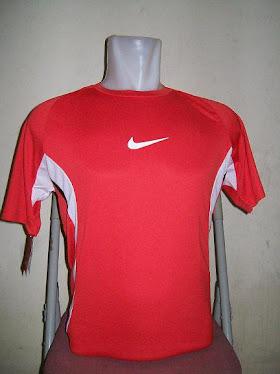 Kaos futsal merah lis putih