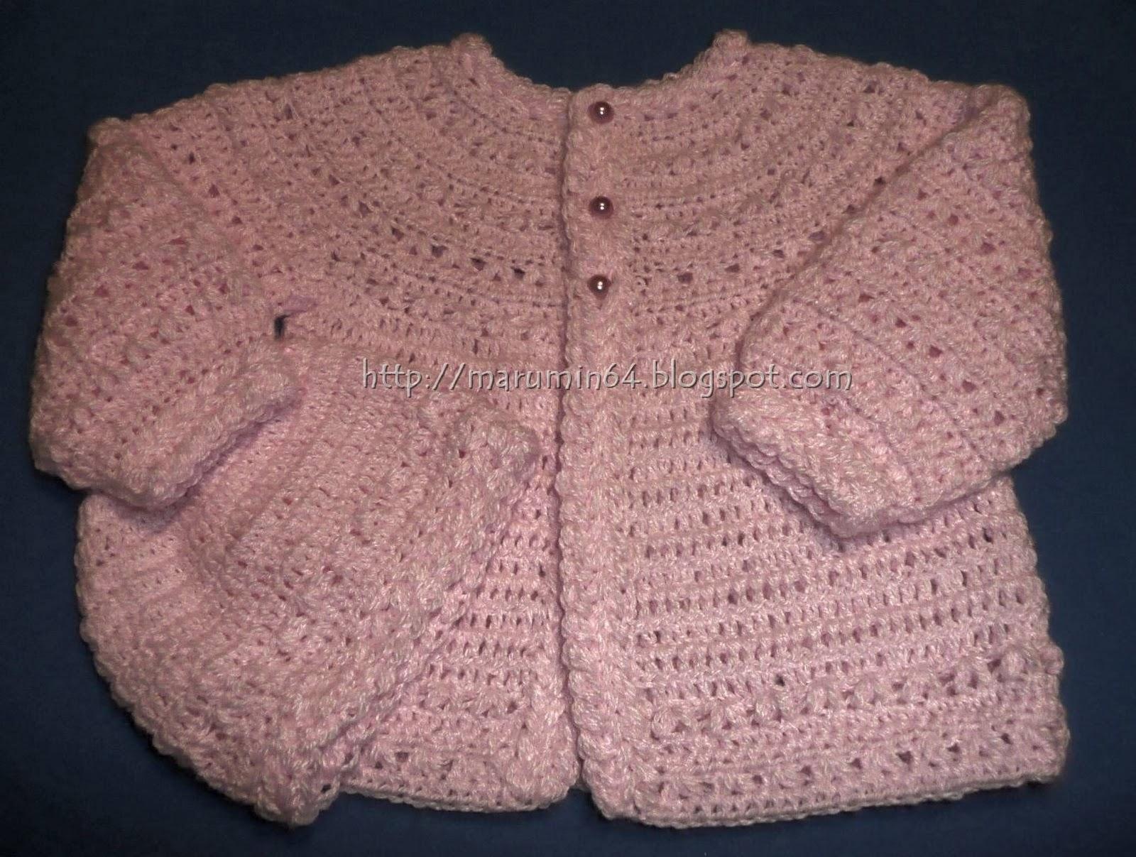 Marumin Crochet: Chaquetita CR rosa con trenzas/Round yoke pink ...