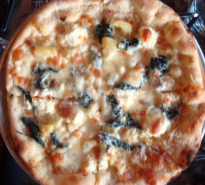 shared the Potato Pizza: Fingerling potatoes, spinach, sweet roasted ...