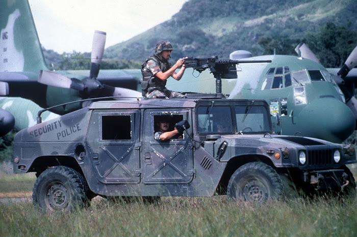 Security Policemen Patrol Howard AFB, Panama