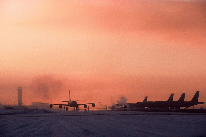 Early Morning Flight Operations for KC-135 Tanker Aircraft at Eilson AFB, Alaska in Mid February