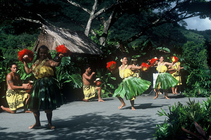 Polynesian dancers of Wamaia Bay Park on Hawaii's north shore.