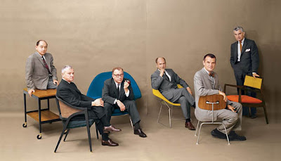 George Nelson, Edward Wormley, Eero Saarinen, Harry Bertoia, Charles Eames and Jens Risom