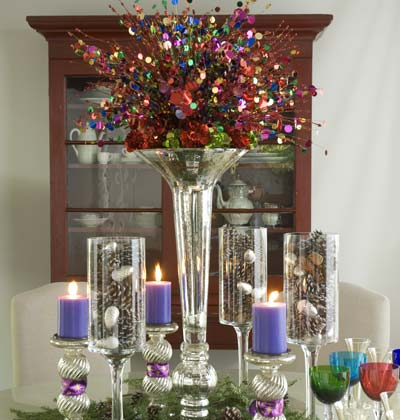 An explosion of color and shine sets a festive table for a New Year 39s Eve