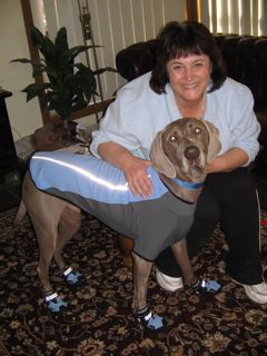 "Me in 2008 with my ""grand-dog"" Bailey"