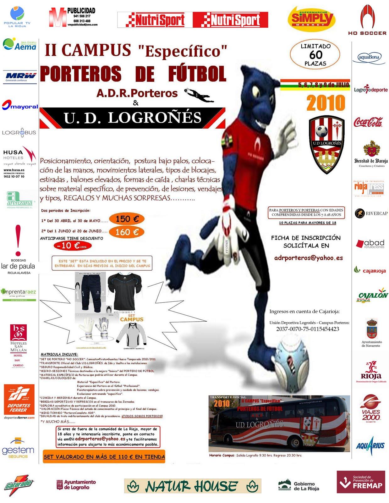"""II CAMPUS """"Específico"""" PORTEROS DE FÚTBOL  5 al 9 de Julio 2010"""