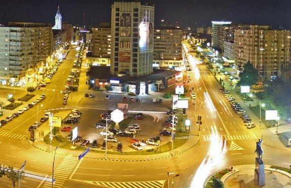 Centrul orasului Bacau noaptea