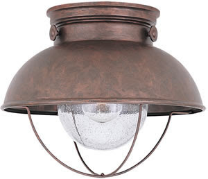 Sea Gull 8869-44 1 Light Sebring Outdoor Ceiling Fixture Weathered Copper