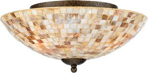 Quoizel MY1613ML Monterey Mosaic 3 Light Flush Mount Ceiling Fixture Malaga