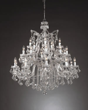 Crystorama 4470-CH-CL-SAQ Maria Theresa 25 + 1 Light Chandelier Chrome With Clear Swarovski Spectra Crystal