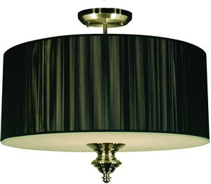 Z-Lite 157-24BK-SF Manhattan 4 Light Semi Flush Ceiling Fixture Black/Brushed Nickel
