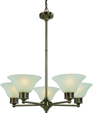 Z-Lite 309-5C Dynasty 5 Light Chandelier Burnished Nickel/Chocolate