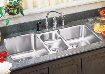 Elkay ELUH4020 Lustertone Triple Bowl Undermount Stainless Steel Kitchen Sink