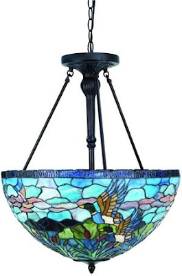 Lite Source C7858 Neka 3 Light Bowl Pendant Antique Bronze/Tiffany Shade