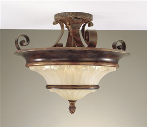 Murray Feiss SF197WAL/FG Artisan Semi-Flush Ceiling Light Walnut / Firenze Gold