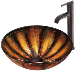 Vigo VGT126 Tigre Glass Vessel Sink With Faucet