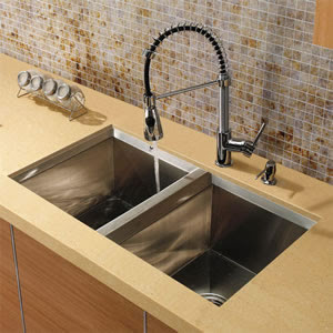 Vigo VG15036 Undermount Double Bowl Stainless Steel Kitchen Sink With Faucet & Dispenser