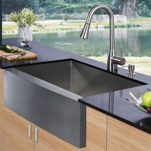 Vigo VG15003 Single Bowl Stainless Steel Farmhouse Kitchen Sink With Faucet & Dispenser