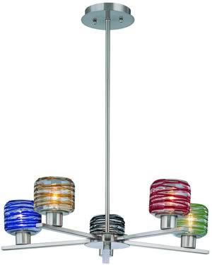 Lite Source LS-19195MULTI Besta 5 Light Chandelier Polished Steel/Multi Glass Shade