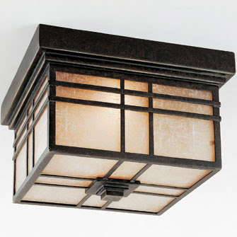 Quoizel HC1612IB Hillcrest Flush Mount Outdoor Ceiling Light
