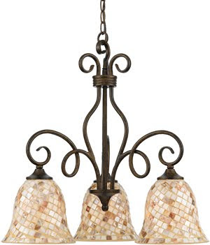 Quoizel MY5103ML Monterey Mosaic 3 Light Chandelier Malaga