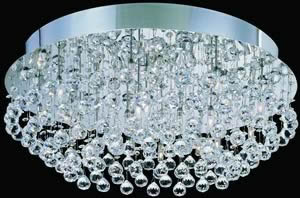 Lite Source LS-5582 18 Light Egypt Crystal Flush Mount, Stainless Steel