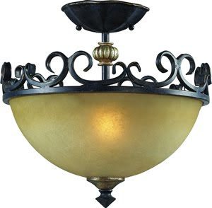 Z-Lite 402SF Spanish Forge 2 Light Semi Flush Ceiling Fixture Black/Antique Gold