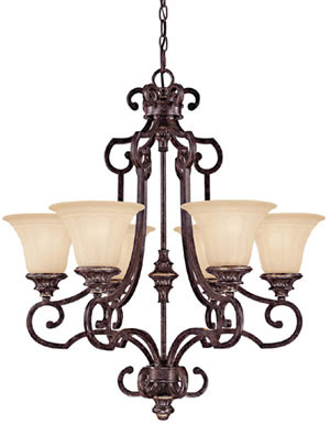 Capital 3626TG-266 Bradford House 6 Light Chandelier Tortoise With Gold