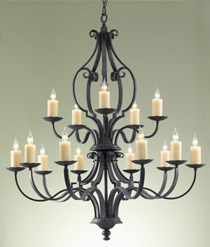 Murray Feiss F2279/10+5AF King's Table 2-Tier 15-Light Chandelier Antique Forged Iron