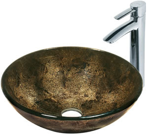 Vigo VGT122 Sintra Glass Vessel Sink With Faucet