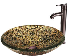 Vigo VGT119 Triton Glass Vessel Sink With Faucet