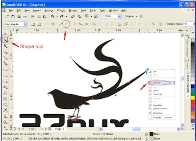 Tips :untuk membuat lengkungan caranya klik kanan Pilih to curve ...