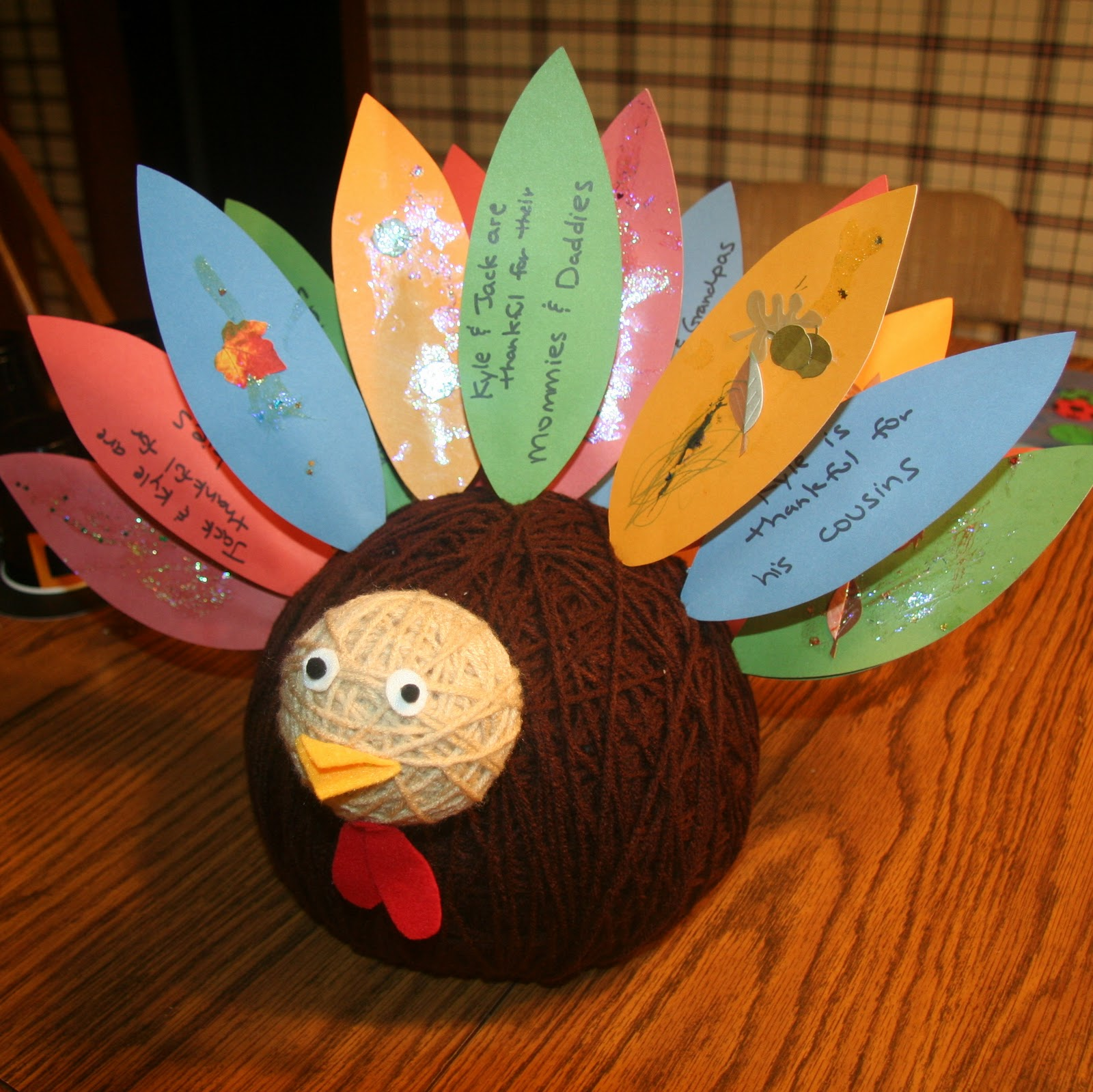 thanksgiving yarn ball turkey craft preschool crafts for