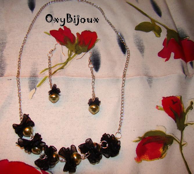Colier si cercei perle Bohemia oliv si organtza - pret 28 ron