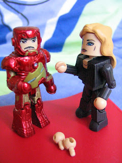 Marvel Iron Man 2 Mini Mates Avengers Tony Stark Pepper Potts Mark III Unmasked Movie