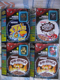 Nestle Cereal box promotion Marvel Spider-man Venom Sandman New Goblin Green Kellogg